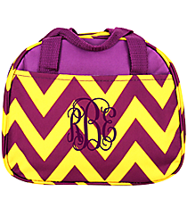 Purple and Yellow Chevron Bowler Style Insulated Lunch Bag #C20-601-PY