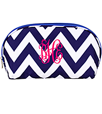 Blue Chevron 3-Piece Nesting Crescent Cosmetic Set #C3-601-BLUE