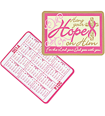 1 Dozen 2014 Pink Religious Ribbon Wallet Card Calendars #13605403
