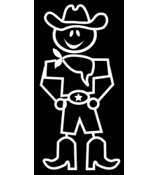 Cowboy Male Vinyl Car Decal #SF29