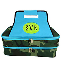 SALE! Army Camo Insulated Double Casserole Tote with Turquoise Trim #ARM391-TURQ