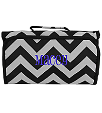 Black and Gray Chevron Roll Up Cosmetic Bag #CB-1324