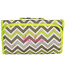Green and Gray Chevron Roll Up Cosmetic Bag #CB-1326