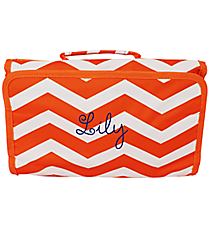 Orange and White Chevron Roll Up Cosmetic Bag #CB01-165-OR/W