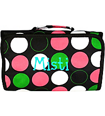 Multi Dot with Black Trim Roll Up Cosmetic Bag #CB01-544