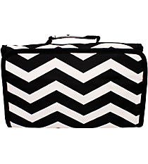 Black and White Chevron Roll Up Cosmetic Bag #CB01-165-B/W