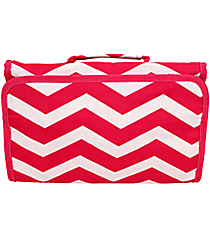 Fuchsia and White Chevron Roll Up Cosmetic Bag #CB01-165-F/W