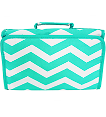 Light Blue and White Chevron Roll Up Cosmetic Bag #CB01-165-LT/W