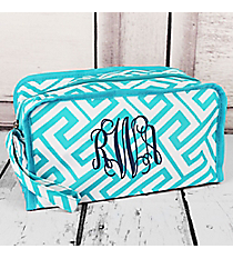 Turquoise and White Greek Key Maze Travel Bag #CB10-21-TO