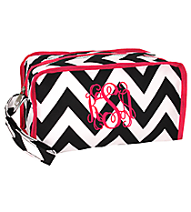 Black Chevron with Pink Trim Travel Bag #CB10-601-BW-P