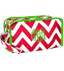 Pink Chevron with Green Trim Travel Bag #CB10-601-P-G