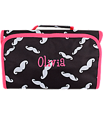 Black and Gray Mustache with Pink Trim Roll Up Cosmetic Bag #CB-1329-P