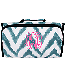 Blue Airbrushed Chevron Roll Up Cosmetic Bag #CB-1330-1