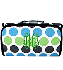 Tri-Colored Polka Dots Roll Up Cosmetic Bag #CB-1331-1
