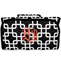 Black and White Overlapping Squares Roll Up Cosmetic Bag #CB-1333