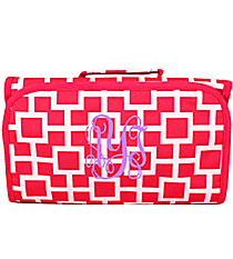 Pink and White Connecting Squares Roll Up Cosmetic Bag #CB-1334-2
