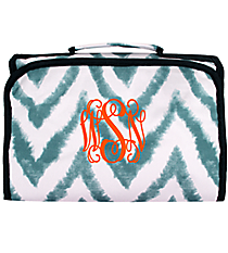 Blue Airbrushed Chevron Clear-View Roll Up Cosmetic Bag #CB18-1330-1