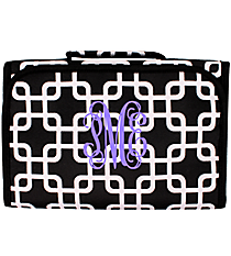 Black and White Overlapping Squares Clear-View Roll Up Cosmetic Bag #CB18-1333