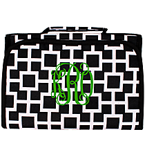 Black and White Connecting Squares Clear-View Roll Up Cosmetic Bag #CB18-1334-1