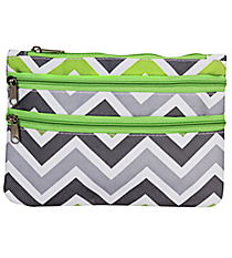 Green and Gray Chevron Travel Pouch #CB2-1326