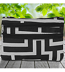 Black and Gray Greek Key Travel Pouch #CB2-704-BK