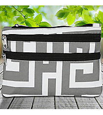 Gray and White Greek Key Travel Pouch #CB2-704-GRAY