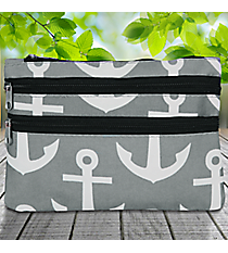 Gray and White Anchor Travel Pouch #CB2-706-GRAY