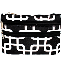 Black and White Overlapping Squares Travel Pouch #CB2-1333