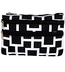 Black and White Connecting Squares Travel Pouch #CB2-1334-1