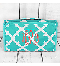 Turquoise and White Moroccan Roll Up Cosmetic Bag #CB25-11-TO