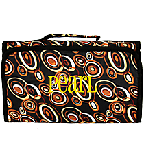 Brown Circles on Black Roll Up Cosmetic Bag #CB25-2601-CIRCLES