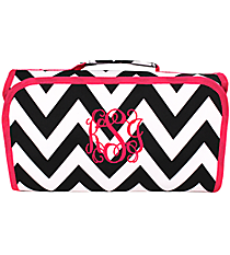 Black Chevron with Pink Trim Roll Up Cosmetic Bag #CB25-601-BW-P