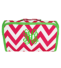 Pink Chevron with Green Trim Roll Up Cosmetic Bag #CB25-601-P-G