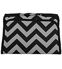 Black and Gray Chevron Small Roll Up Jewelry Bag #CB50-1324
