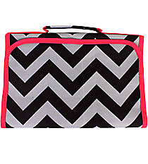 Black and Gray Chevron with Pink Trim Small Roll Up Jewelry Bag #CB50-1324-P