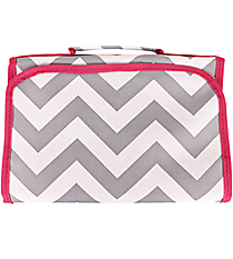 Gray and White Chevron with Pink Trim Small Roll Up Jewelry Bag #CB50-1325-P