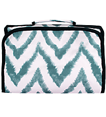 Blue Airbrushed Chevron Small Roll Up Jewelry Bag #CB50-1330-1