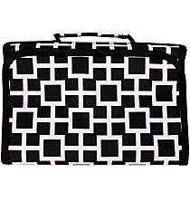 Black and White Connecting Squares Small Roll Up Jewelry Bag #CB50-1334-1