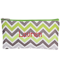 "Green and Gray Chevron 10"" Pouch #CB8-1326"
