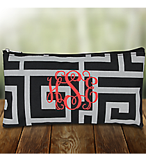 "Black and Gray Greek Key 10"" Pouch #CB8-704"