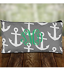"""Gray and White Anchor 10"""" Pouch #CB8-706-GRAY"""