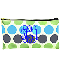 "Tri-Colored Polka Dots 10"" Pouch #CB8-1331-1"