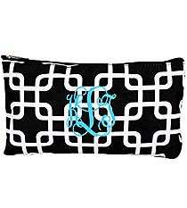 "Black and White Overlapping Squares 10"" Pouch #CB8-1333"