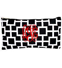 "Black and White Connecting Squares 10"" Pouch #CB8-1334-1"
