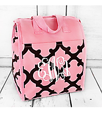Pink and Coffee Brown Moroccan Insulated Lunch Tote #CC18-11-COFFEE-P