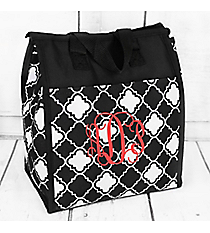 Black and White Quatrefoil Insulated Lunch Tote #CC18-15-BW