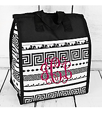 Black and White Greek Key Insulated Lunch Tote #CC18-16-BW