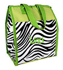 Zebra with Green Trim Insulated Lunch Tote #CC18-2006-G
