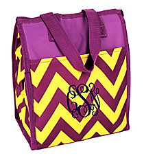 Purple and Yellow Chevron Insulated Lunch Tote #CC18-601-PY