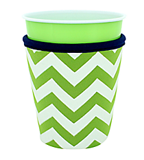 Lime and White Chevron with Navy Trim Cup Cozy #CCOZ-LMNV